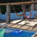 pool and hammocks