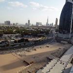 Blick vom 14. Stock auf die Dubai Mall und den Burj Khalifa
