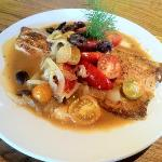 local trout with tomatoes fennel and grits!