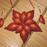 Double Petal Macrame Necklace & Earrings