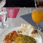 Lunch buffet selections: Chicken Tikka Makhni, Dal Rajrani, Saag Paneer with Naan and a Mango Ju