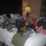 Excuse our messy bed.. we were busy!