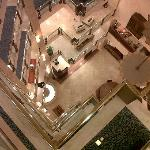 A view from above down to the breakfast place in the lower ground floor.