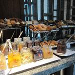 Wide selection of pastries from breakfast buffet
