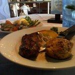 steak, bread souffle, grilled vegetables