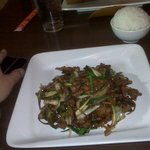 Xi An Beef with white rice, a favorite at Encore Cafe, Lawrence