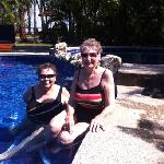 Molly and carol in the pool