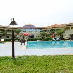The hotel grounds and pool