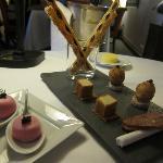 Salmon mousse, foie gras cubes, small eggs wrapped in warm toast, Maison Lameloise