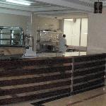 The counter where the dining room staff prepare your meal. There is no breakfast buffet.