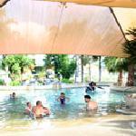 Guests' private hot pool at Miranda Holiday Park