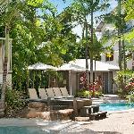 3 heated pools surrounded by tropical gardens