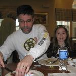Our son and grand daughter at breakfast in the dining room
