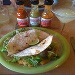 Fish Tacos were excellent!  All sauces were delicious with good flavour.  A carafe of Margaritas