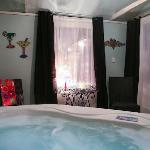 Inside Back Porch Suite's Hot Tub Cabana
