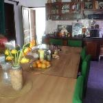 The kitchen and the dinning area