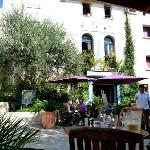 The square in Bages, ancient sundial (top left) and our favourite restaurant