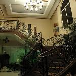 staircase from the lobby to the rooms