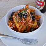 Tuscan Pasta with a Mahou beer