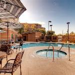 Our heated outdoor pool and spa area.