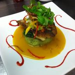 striped bass fillet with pesto polenta