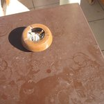 table by sun lounger first thing in morning