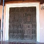 Old church door in front of art museum