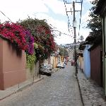 Tapachula street (hotel on the left side, with the flowers)