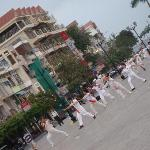 morning tai chi in front of Paragon
