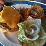 Caribbean Burger... delicious! Onion Rings are a blast must eat!
