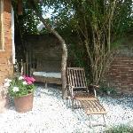 a sunny spot outside the garden apartment