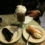 Hot Chocolate, Chocolate dipped Cannoli, and plain Cannoli.. all amazing!!