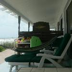 Our porch...beach toys,hammock