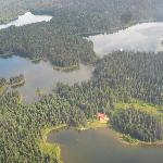 Arial view of the Lodge and the three closest lakes
