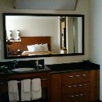nice, clean vanity area