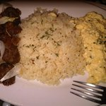 Garlicky longganisa & caramelized onion  with scrambled eggs and fried rice