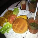 DELICIOUS salmon burger with tostones and a guava mojito for 10.00