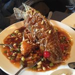 fried fish with nuts