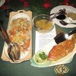 Baked lapulapu and pancit bihon