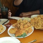 Fried clams, seafood platter, onion rings