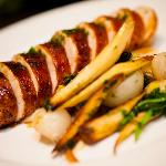 Allium Wood Oven-Roasted Stuffed Chicken with Apples, Sausage, Celeriac Purèe, Parsnip + Carrots