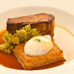 Allium Braised Pork Belly with Crispy Rice Cake, 60-minute Egg + Pickled Romanesco -- Photo cred