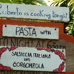 announcement about Roberto's pasta))