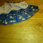 Broken glass and underwear from previous guests. Also, look at the floor!