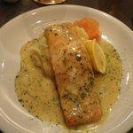Salmon over mashed potatoes