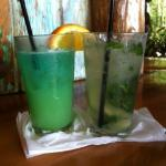 drinks at the bar (dolphin puncher and mojito)