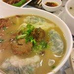 Braised Pork & Dumplings with Rice Noodles soup