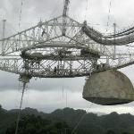 Reflectors and antennae suspended above the valley