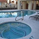 Relax after a long day in our heated outdoor pool and spa