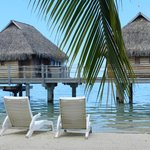 Overwater bungalows that unfortunately block the ocean view